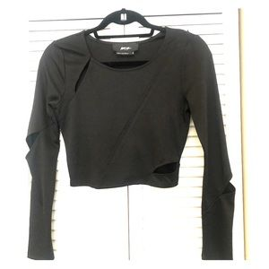 Black Long Sleeve Crop Top Nasty Gal Sz Small
